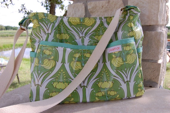 Laminate Messenger Slouch Bag