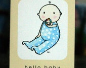 small hello baby card (neutral)