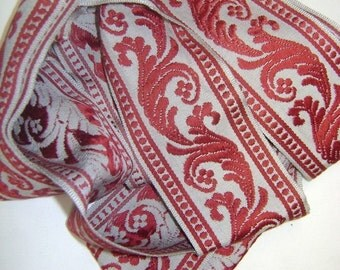 Copper Red/Natural Linen Trim-3 Inches Wide