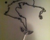RESERVED FOR ROBIN winged key necklace