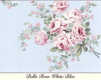 Rachel Ashwell Shabby Chic Bella Rose Blue 100% T shirt Jersey Fabric