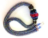 Herringbone Beaded Necklace, Peyote Spiral Beaded Necklace, Purple Beaded Necklace, embellished with Red, Blue and Purple Crystals-Jewelry
