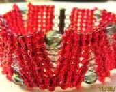 Red Herringbone Bracelet, Beaded Bracelet, Beaded Crystal Bracelet