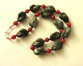 Red Jade Porcelain gray knot necklace, Stone Necklace, Beaded Jewelry, Stone Jewelry, Beaded Necklace