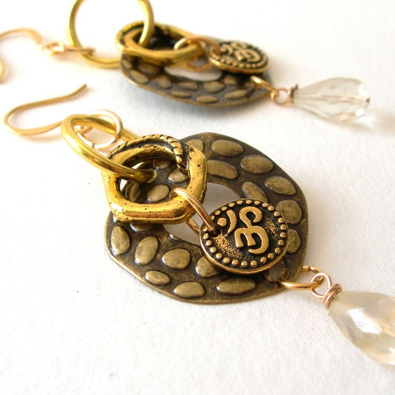 Citrine Chandelier Earrings with Antiqued Brass and Om