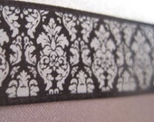 CLEARANCE Five yards 5/8 inch wide black and white satin damask ribbon