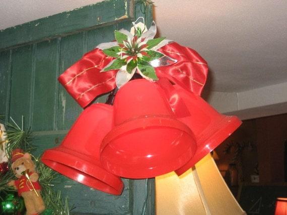 Vintage Plastic Red Lighted Christmas Bells