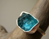 Rough -Raw- Apatite Ring - in Sterling Silver - Medium size- Custom - Choose your stone and your Size- UPDATED NEW STONES!