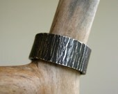 Reserved for Jeff! BIRCH Bark Ring with Pearl - Oxidized - Rustic Heavy 8mm WIDE Hammered Sterling Silver Band