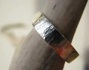 Birch Bark hammered Ring- Sterling silver - Choose Width from 4, 5, 6, or 7 mm - Custom Size