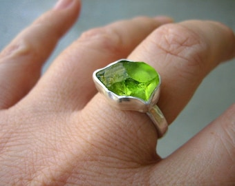 Rough Peridot ring - Custom- Choose your stone and size- Sterling silver - UPDATED NEW STONES!