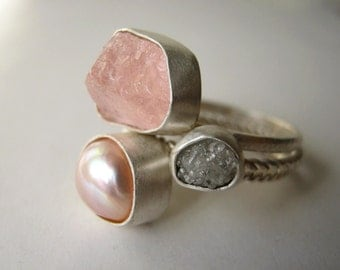 Rough Diamond, Rough Morganite and Natural Pearl Stack Ring Set - Engagement , Wedding