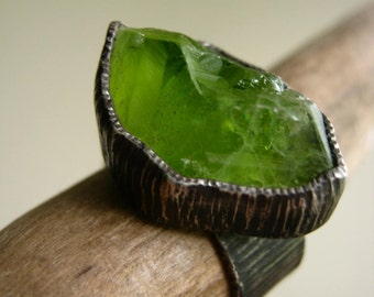 Big Rough Peridot Birch Bark Ring Sterling Silver Rustic Oxidized - Custom select your stone and size UPDATED NEW STONES!