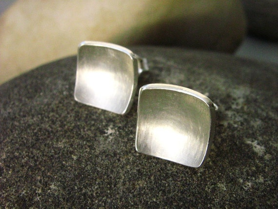 Soft Square Bowl stud earrings - Sterling silver