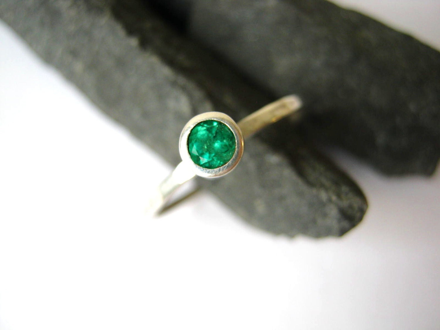 emerald stacking ring columbian sterling silver ready do