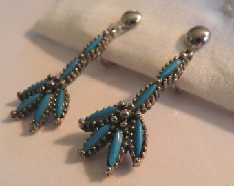 Vintage 50's Faux Turquoise Claw Dangle Earrings