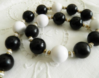 Vintage Black and White Beaded Monet Necklace