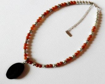 Vintage Napier Faux Carnelian Bead Necklace