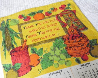 Vintage 1975 Linen Tea Towel Calendar Prayer