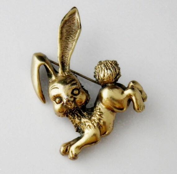 Vintage 1963 Tortolani Signed Bunny Rabbit Brooch