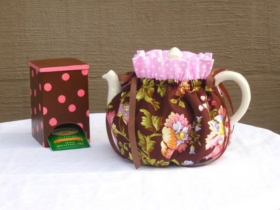 Insulated Reversible Brown Floral cozy for medium  to large Tea Pot  Ready to ship