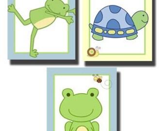 Leap Frog Turtle & Frog Prints Set of Three Nursery Art prints
