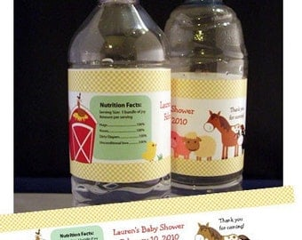 Barnyard Farm Theme Horse, Cow, Sheep, Pig DIY Water Bottle Label Favors, Birthday or Baby Shower, Print your own PDF file