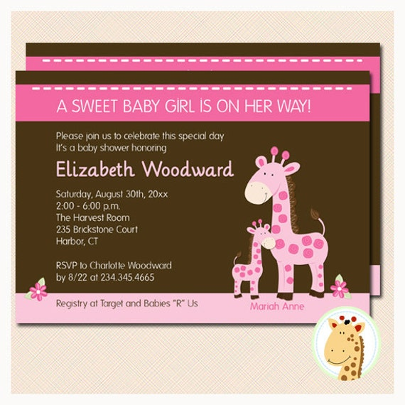 and baby giraffe baby shower invitation jpg print your own invitation