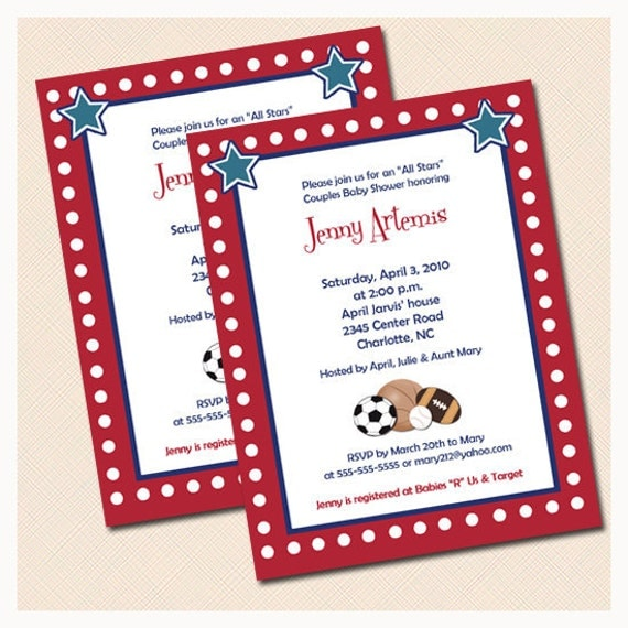 all stars sports theme boys baby shower invitation print your own