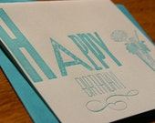 CHEERS - Set of 3 Letterpress Birthday cards (LAST SET)