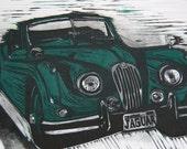 Original Limited Edition Linocut Print - 1955 Jaguar XK