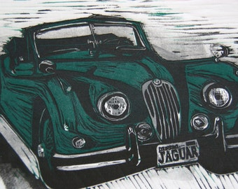 Original Limited Edition Linocut Print - 1955 Jaguar XK