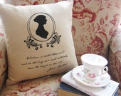 Jane Austen Silhouette and Quote Pillow - Hand Screen Printed