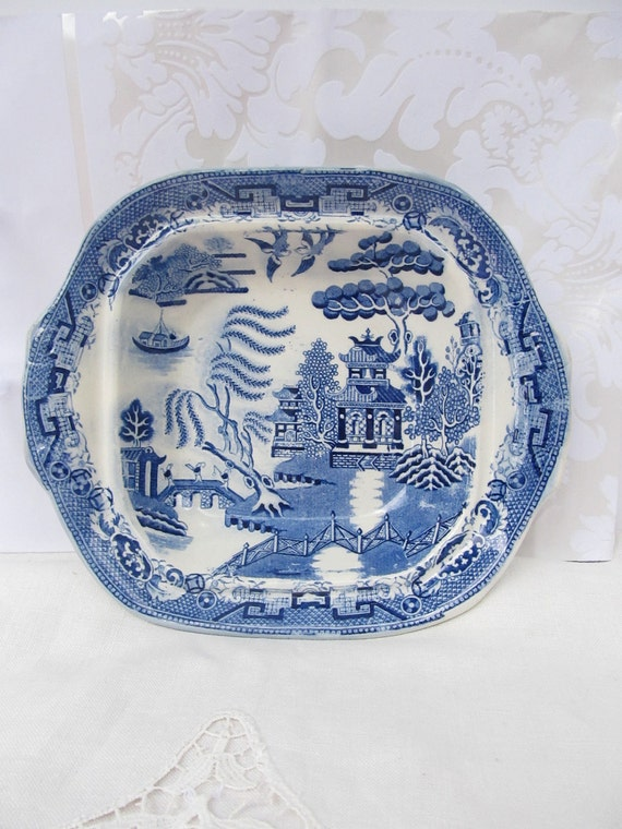 Blue Willow, Flow Blue, Vegetable Dish, Bowl