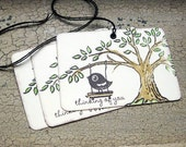 Gift Tags Bird On a Tree Swing-Set of 3