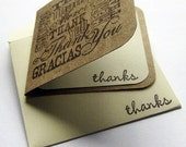 Blank Mini Thank You Note Cards, Set of 5