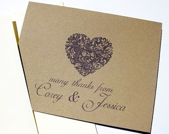 Personalized Wedding Thank You Cards, Set of 10