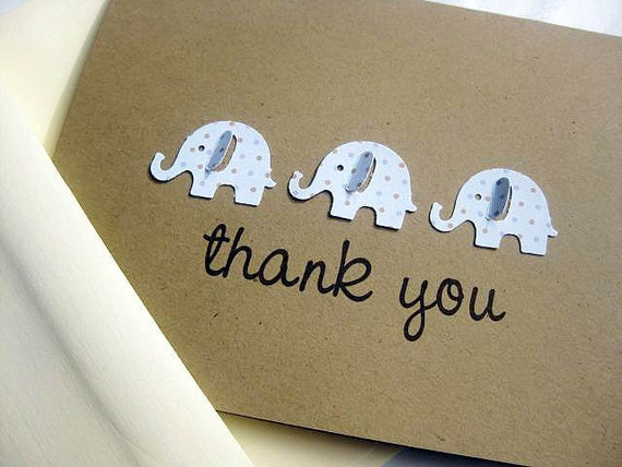 Baby Shower Thank You Cards, Blue Dot Elephant Set of 8