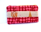 Zipper pouch in wine and pink dots with Rapunzel