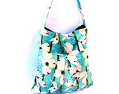 Pleated tote bag in aqua blue with white flowers perfect for markets and shopping summer bag