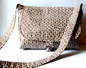 Messenger Bag in brown and bone with an across body strap in a tribal and earthy style