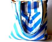 Chevron tote bag in blue and white market bag shoulder bag