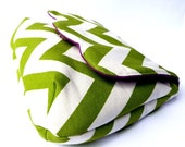 Chevron clutch purse green white zig zag geometric stripes