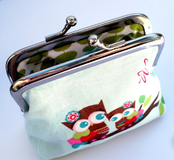 Coin purse with woodland scene including owls, deer, trees and strawberries
