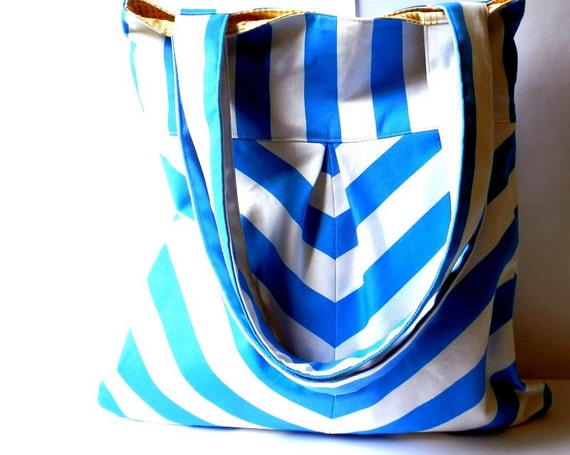Chevron tote bag in blue and white market bag shoulder bag