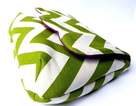Chevron clutch purse green white zig zag geometric stripes