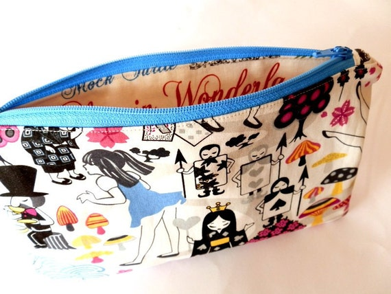 Alice in Wonderland zip pouch Japanese anime pencil case make up pouch
