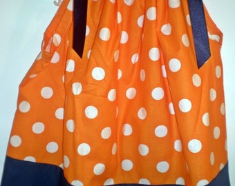Orange Polka Dot or Auburn Pillowcase dress, sizes 2T through 5
