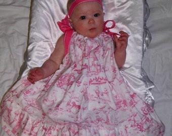 Hot Pink Nursery Rhyme Toile Pillowcase Dress, sizes 3mos through 24mos