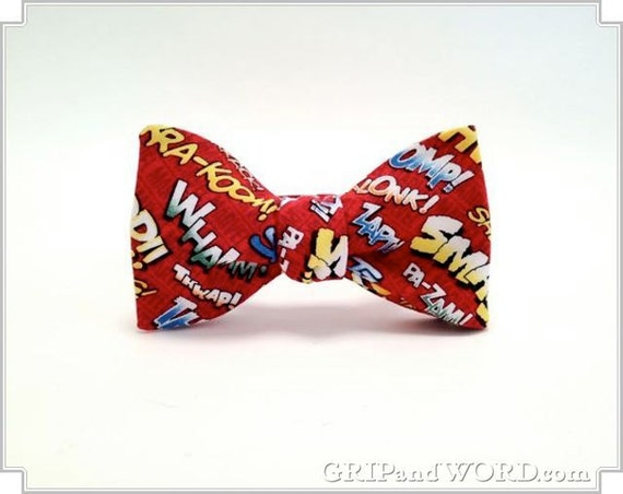 The Hero - Red Comic Book Bow Tie
